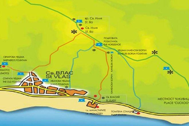 Map Of Chapel Eco Trail Sveti Vlas